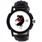 Black Man White Dial Gallery Wrist Men's Watch By Google Hub