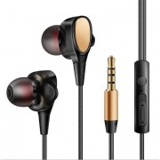 MW-509 3.5mm In-ear Dual Motion Coil Wired Gaming Headset with Mic - Gold