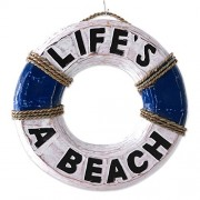 NOVICA Hand Made Albesia Wood Nautical Lifesaver Hanging Sign with Agel Grass Cord, 'Life Ring'