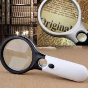 Mini Portable Handheld Lupa De Lectura Visual 3-45x Con 3 LED Light (negro)