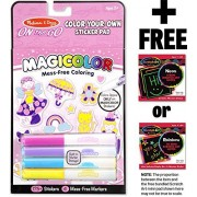 Pink Color-Your-Own Sticker Pad: On-the-Go Series + FREE Melissa & Doug Scratch Art Mini-Pad Bundle (91312)