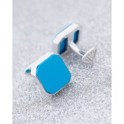 Dare by Voylla Silver-Plated Turquoise Stone Studded Milestone Cufflinks