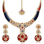 Kriaa by JewelMaze Zinc Alloy Gold Plated Blue And Red Austrian Stone Kundan Necklace Set With Maang tikka-AAA0725