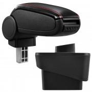 Подлакътник [pro.tec]® Audi A1 (8X) с контейнер за съхранение Изкуствена кожа, Черен с червен шев