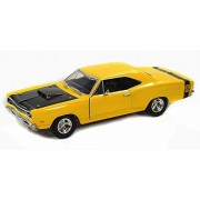 1969 Dodge Coronet Super Bee, Yellow With Black Hood - Motormax Premium American 73315 - 1/24 Scale Diecast Model Car