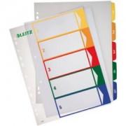 LEITZ Zahlen-Register, Kunststoff, A4, farbiger Verlauf, Beschriftbare Kunststoffregister aus transparentem Polypropylen, 5-teilig