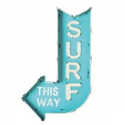 Maisons du monde Cartel-flecha de pared de metal azul 50 x 80 cm SURF