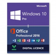 Windows 10 Pro + Microsoft Office 2016 Professional Bundle - Digital Licences