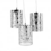 Maisons du Monde Lámparas de techo con 3 pantallas de metal plateado calado