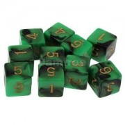 Alcoa Prime Pack of 10pcs Dual Colored Six Sided D6 Dice for D&D RPG Game Green & Black