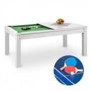 OneConcept Liverpool mesa de juego 3 en 1 billar 7' tenis de mesa, mesa para comer blanco (FIT4 Liverpool WH)