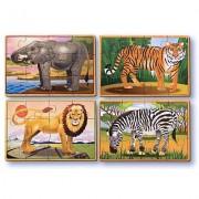Set 4 puzzle lemn in cutie Animale salbatice