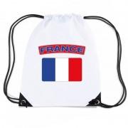 Bellatio Decorations Frankrijk nylon rugzak wit met Franse vlag