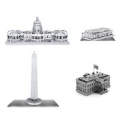 Set of 4 Metal Earth 3D Laser Cut Building Models: Kennedy Center - United States Capitol - White Ho