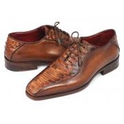 Paul Parkman Genuine Python & Calfskin Bicycle Toe Oxford Shoes Brown 94DE14