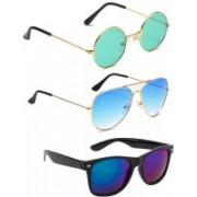 Elgator Aviator, Round, Wayfarer Sunglasses(Green, Blue)