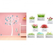 EJA Art cute tree with flower and animalsWall Sticker With Free Flowers Switch Board Sticker Matrial - PVC Color - Multicolor