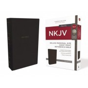 NKJV, Deluxe Reference Bible, Personal Size Giant Print, Imitation Leather, Black, Red Letter Edition, Comfort Print