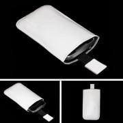 Puha tapintású valódi bőr fehér telefontok kihúzóval - 5x12cm