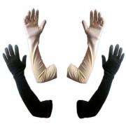 Tahiro Black N Beige Cotton Full Length Gloves - Pack Of 2