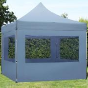 tendapro.it Gazebo Pieghevole ALU 3x3m PVC-beschichtetes Poliestere grigio scuro Padiglione Richiudibile Automatico