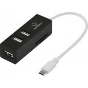 Hub USB OTG 2.0 cu 3 porturi și cititor de card SD, Renkforce