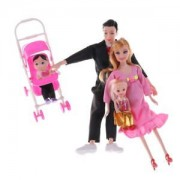 Tradico® TradicoBrand New Toys Family 5 People Dolls Suits 1 Baby Carriage Real Pregnant Doll Gifts HF