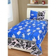craftwell little white flowers on sky base (print on topbottom) 3d single bedsheet with 1 pillow cover