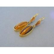 Zlaté dámske náušnice oválne žlté zlato zaujímavy kameň DA534Z