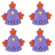 Imported 4pcs Cute Chick Design Easter Egg Covers Holder Decoration Ornament Purple