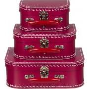 Kofferset (3delig) bordeaux rood - ms964