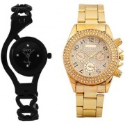 Paidu Golden And Glory Black Metal Chain Metal Couple Analog Watches For Men And Women