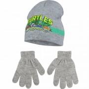 Ninja Turtles kindermuts en handschoenen grijs voor jongens
