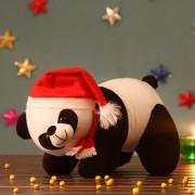 Black and White Panda Christmas Teddy Bear with santa cap and muffler
