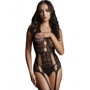 Le Désir: Opaque Bodystocking with Suspender, One Size