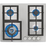 Plită incorporabila Teka EFX 60 4G DR AI AL CI, Gaz, 4 zone de gătit, Arzător coroană dublă, Siguranţă flacără, Aprindere electrică, Grătare fontă, 60 cm, Inox, 40214304