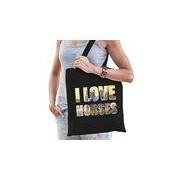Bellatio Decorations I love horses / paarden katoenen tas zwart dames