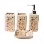 Set de baie cadou cu 4 accesorii si model floral