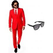 Rood heren kostuum / pak - maat 50 (L) met gratis zonnebril