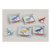 Blauw metalen speelgoed vliegtuig 15 cm