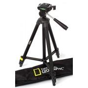 National Geographic Kit de trípode pequeño con bolsa de transporte, cabezal de 3 vías, liberación rápida, 4 patas, separador de nivel medio, carga de 1 kg, aluminio, para Canon, Nikon, Sony NGHPMIDI