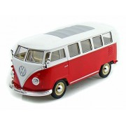 1962 Volkswagen Classical Bus, Burgundy - Welly 22095 - 1/24 scale Diecast Model Toy Car