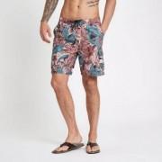 River Island Mens Red palm leaf floral print swim shorts