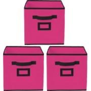 Billion Designer Non Woven 3 Pieces Large Foldable Storage Organiser Cubes/Boxes (Pink) - CTKTC35239 CTLTC035239(Pink)