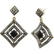 My Design Black Designer Antique Gold Plated Drop Earrings For Women And Girls