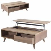 DECOME Table basse coffre bois avec plateau relevable + tiroir Ferdina