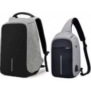 Set Rucsac laptop antifurt maxim 15.6 cu port USB de incarcare gri plus mini-Rucsac gri