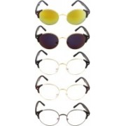 NuVew Round Sunglasses(Blue, Clear, Golden, Violet)