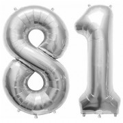 De-Ultimate Solid Silver Color 2 Digit Number (81) 3d Foil Balloon for Birthday Celebration Anniversary Parties