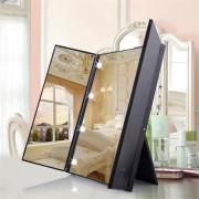 Make up Spiegel met Verlichting - 8x LED - Draagbare Make-Up Spiegel - 3-delig - Tafelspiegel - Zwart